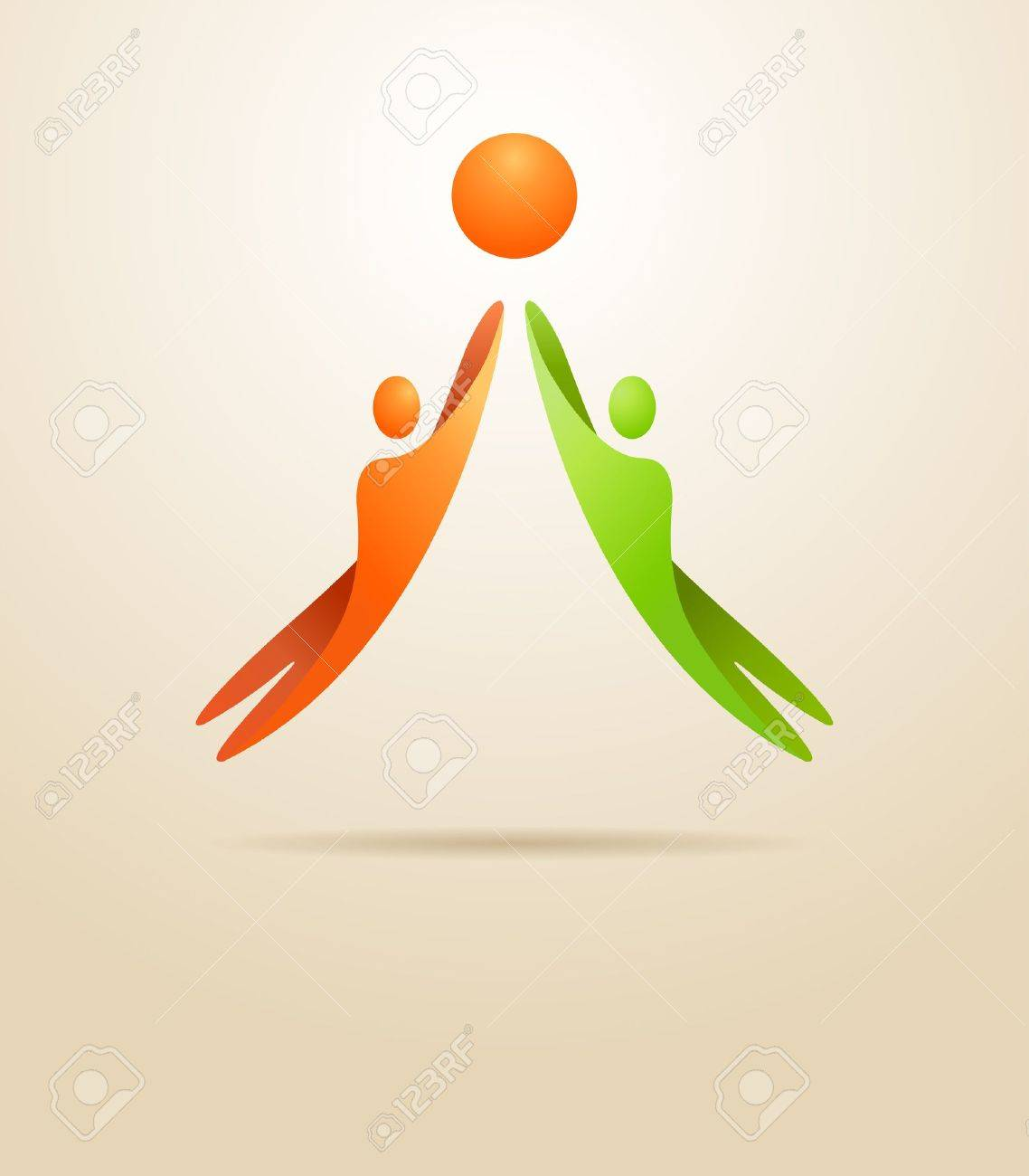 Two people achieve the goal Business concept - 17995801