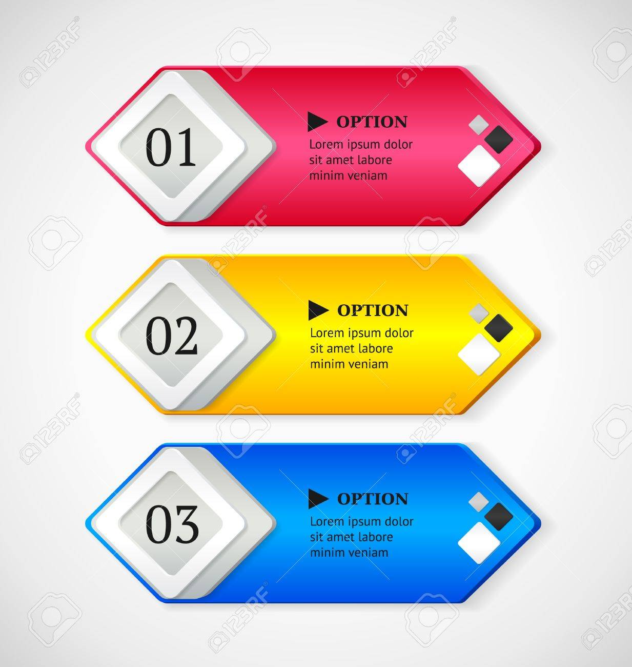 Shine horizontal colorful options banners buttons template  Vector illustration Stock Vector - 19497419