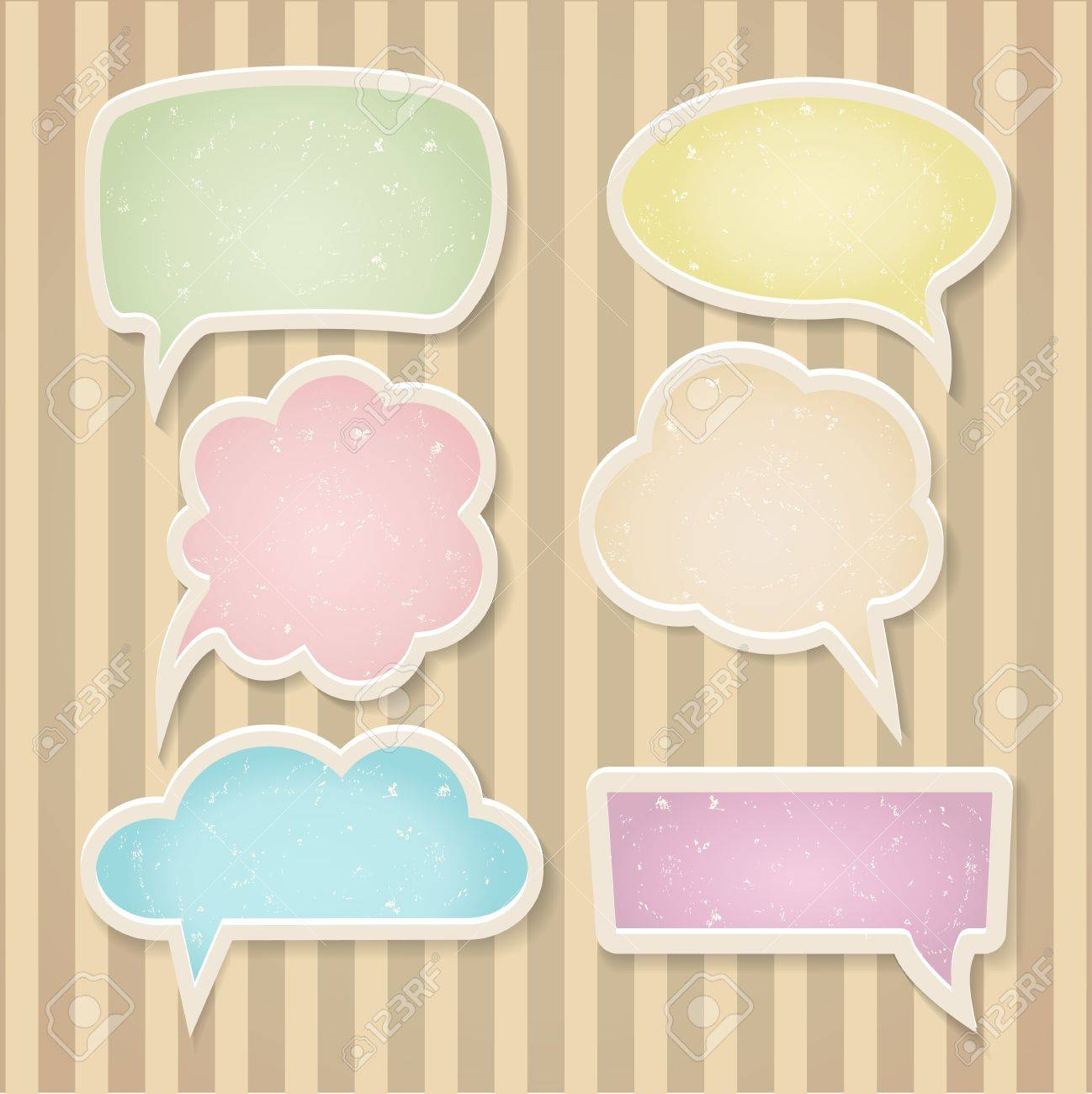 Set of color frayed speech bubbles Stock Vector - 19726313