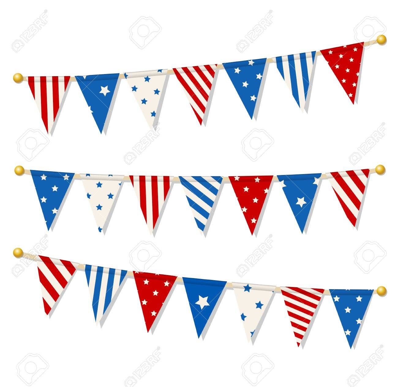 Set Of Triangle Bunting Flags In American National Flag Color ...