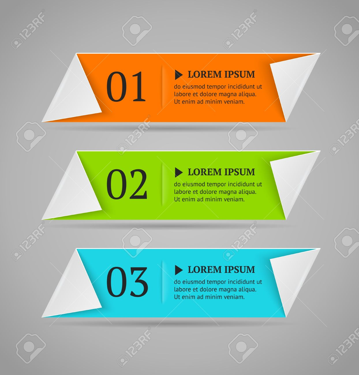 Horizontal colorful options banner template  Vector illustration  Origami style Stock Vector - 21781938