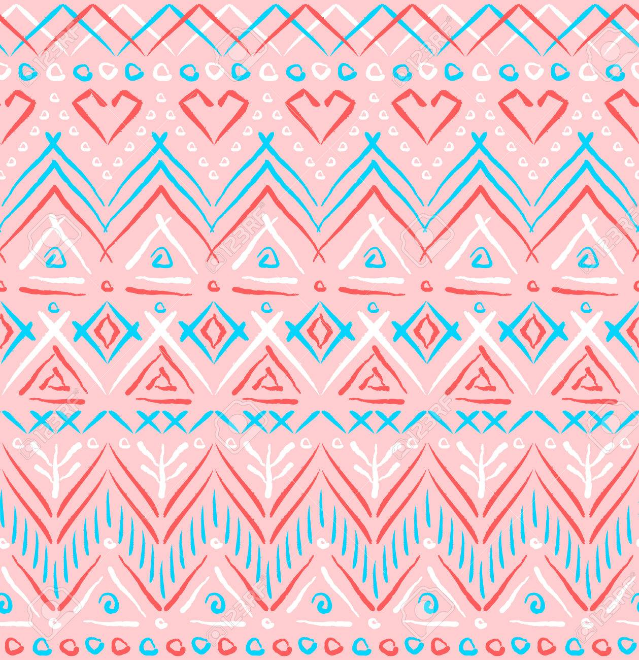 Pink tribal ethnic seamless pattern Stock Vector - 22679899