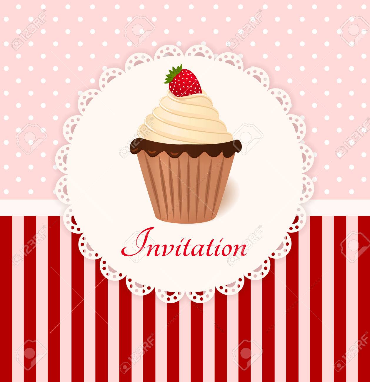 Vintage invitation card with strawberry cream cake Stock Vector - 22679920