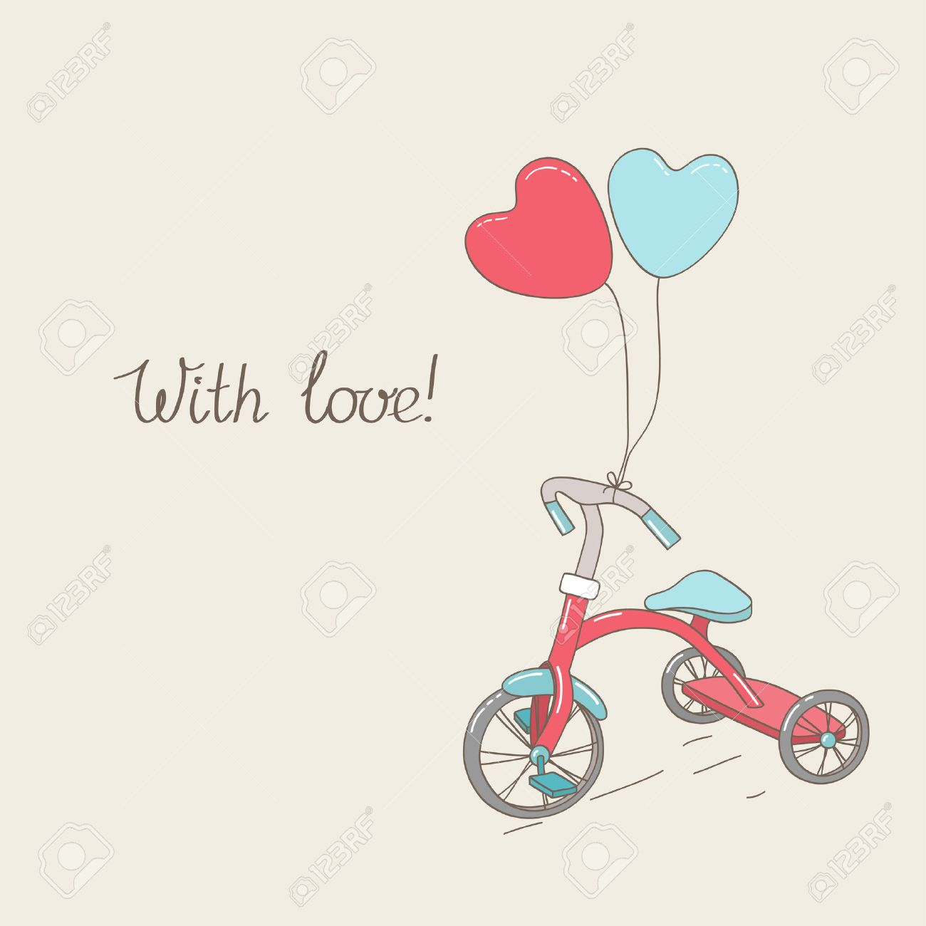 Tricycle and two heart-shaped balloons  Vintage greetings card  Hand written text Stock Vector - 25327097