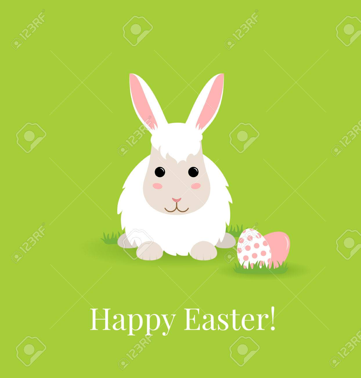 Vector illustration with cute easter bunny and colored eggs vector vector illustration with cute easter bunny and colored eggs flat style can use as happy easter greeting card or background m4hsunfo