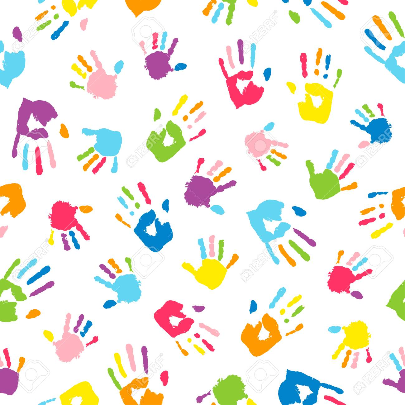 Seamless background made from colorful handprints. Palms and fingers colored in rainbow colors. Multicolor pattern for your design. - 122364954