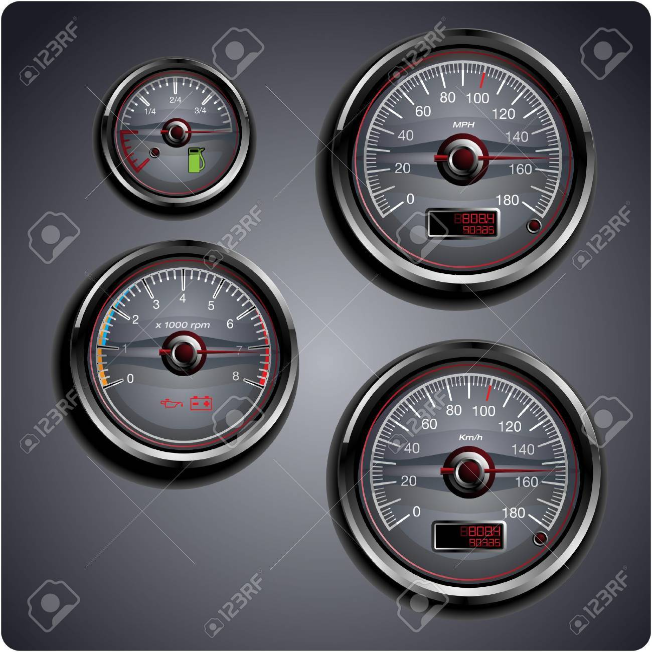 Illustrated automobile gauges for gas, oil, battery and speed. Stock Vector - 10445386
