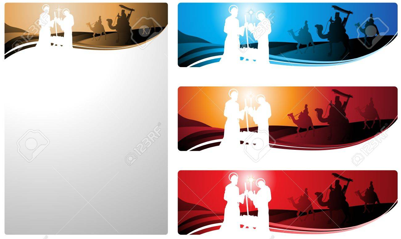 Illustration in different formats, horizontal banner format and vertical letter format. They represent the nativity scene with the three wise men. Stock Vector - 10626732