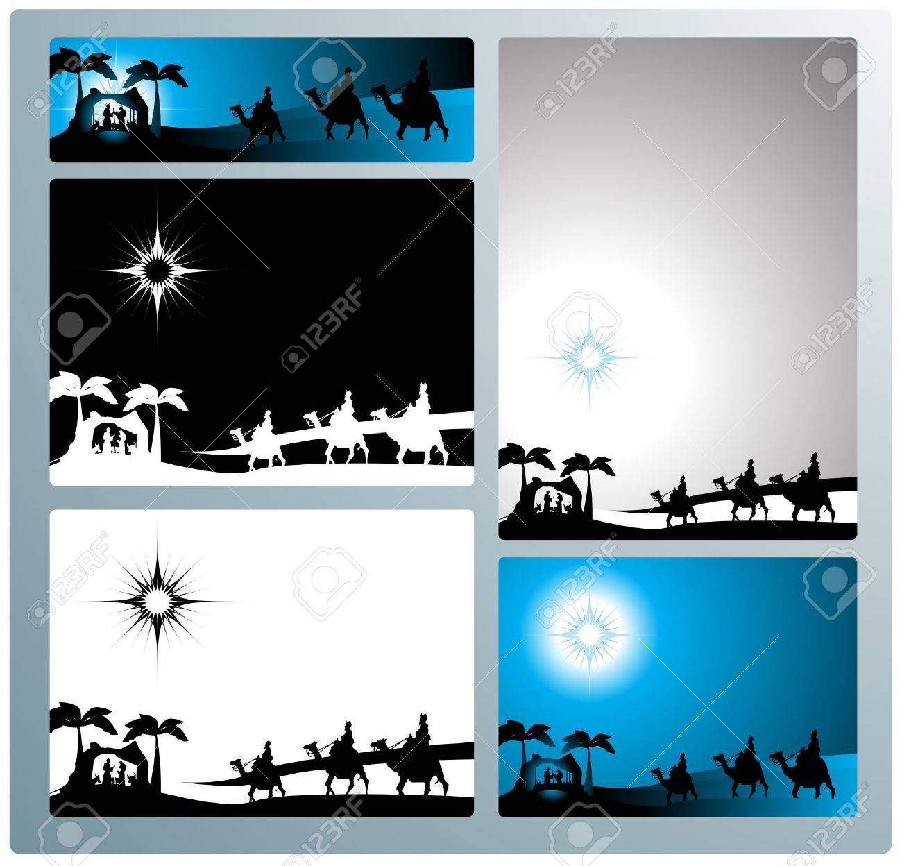 Illustration in different formats, horizontal banner format and horizontal l and vertical letter format. They represent the nativity scene with the three wise men. Stock Vector - 10626719
