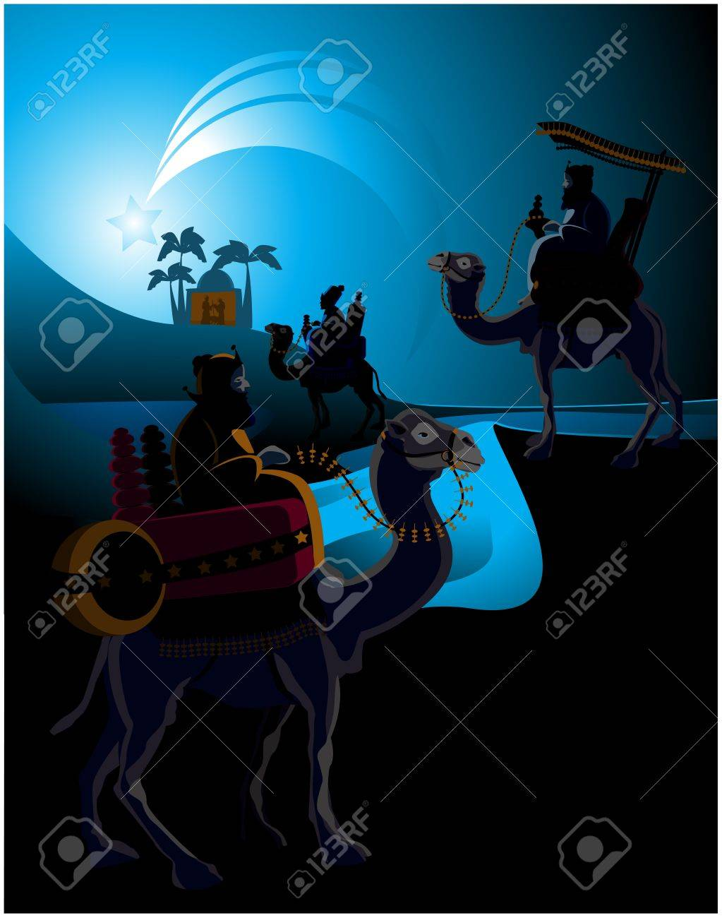 The three wise men and the child Jesus. Stock Vector - 10626728