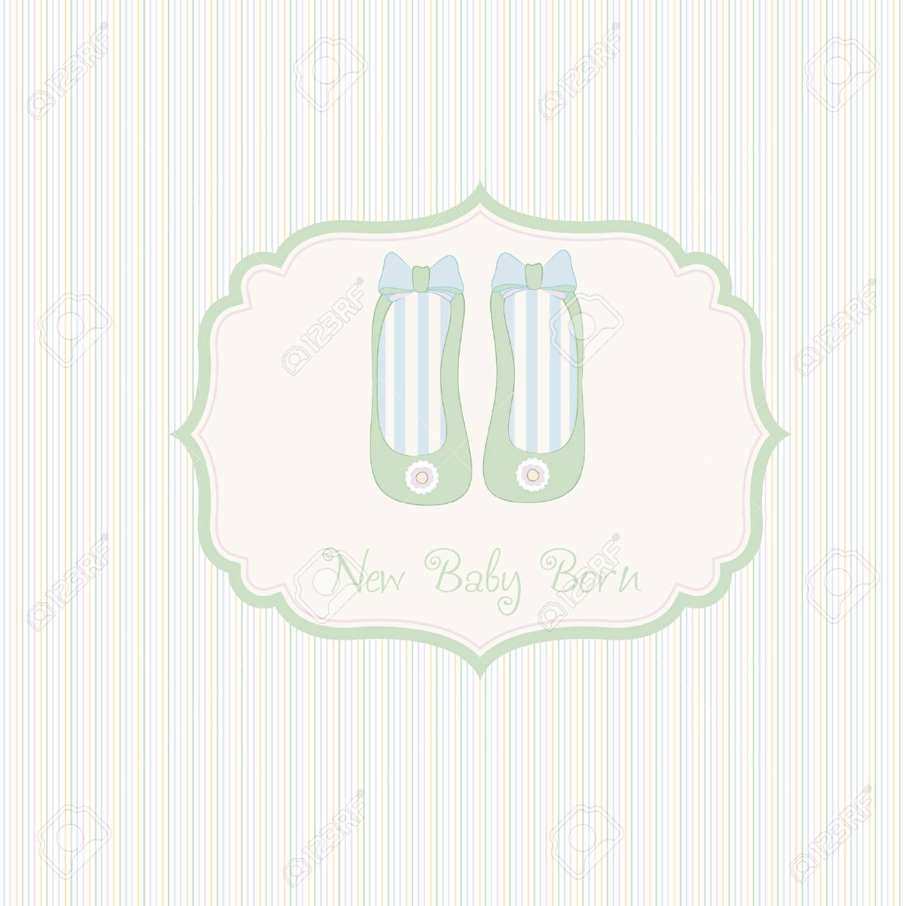 baby shower card with shoes Stock Vector - 9168211