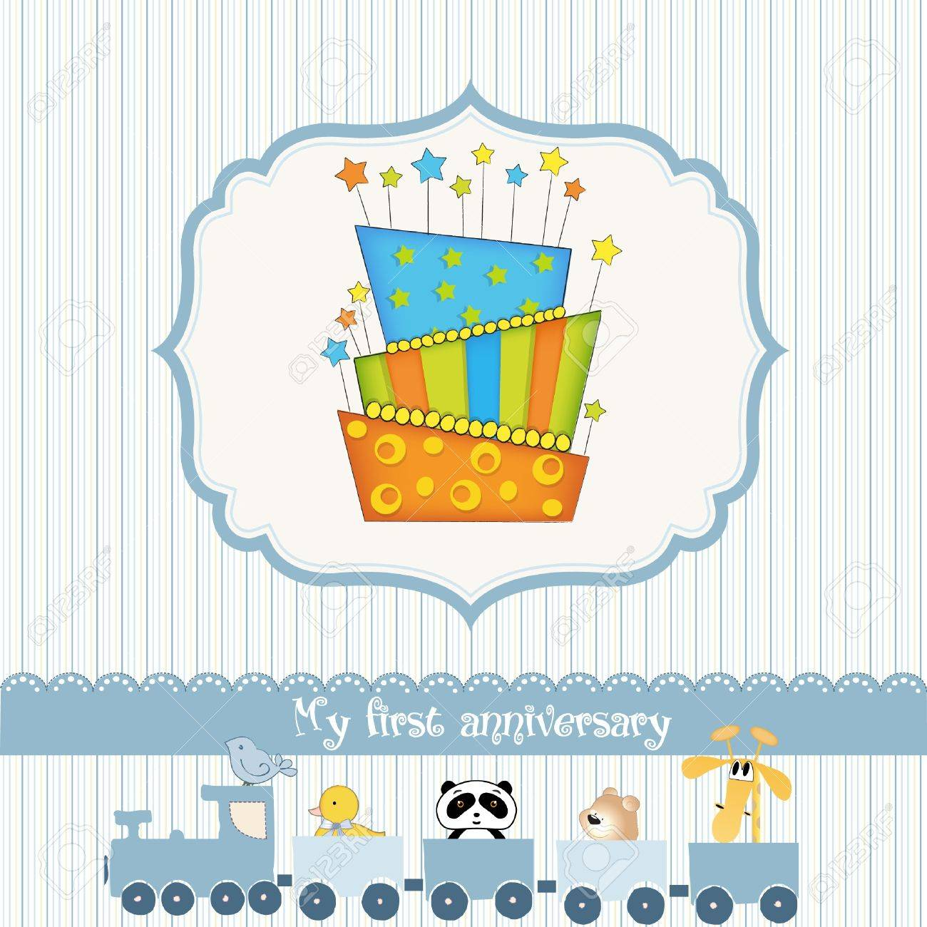 Baby Birthday Card With Cake Royalty Free Cliparts Vectors And – Free Baby Birthday Cards