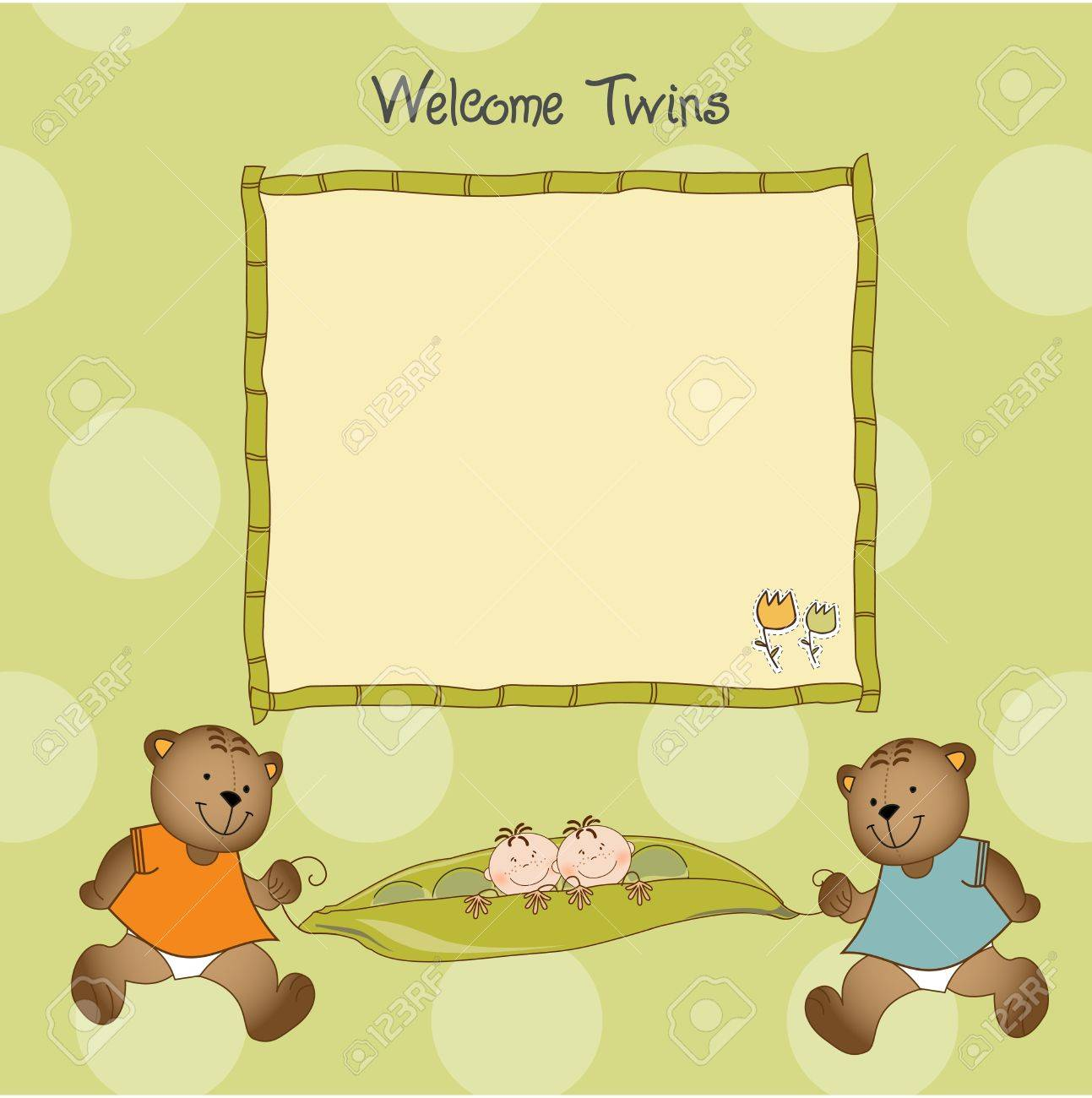vector twins baby shower greeting card