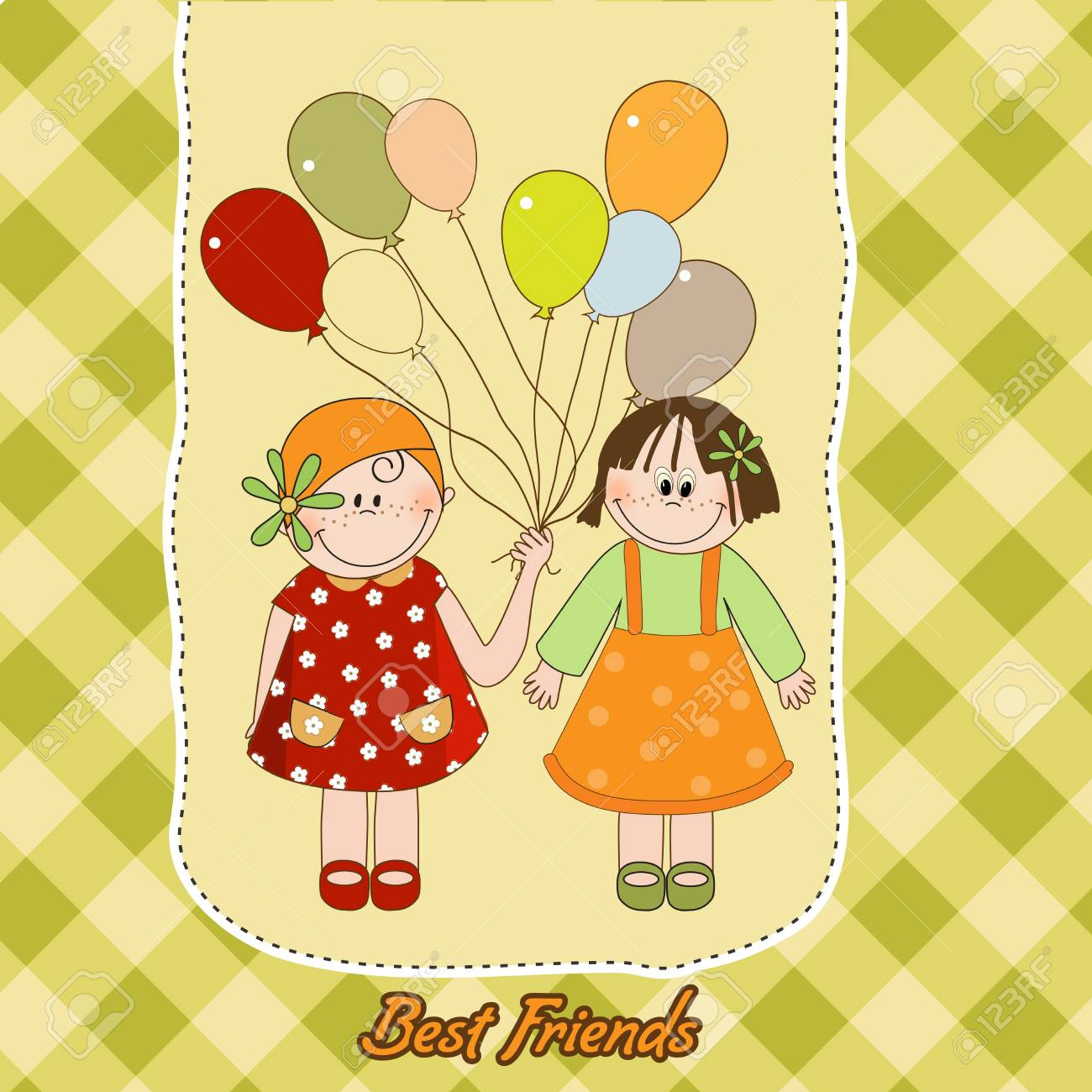 best friends greeting card Stock Vector - 9806416