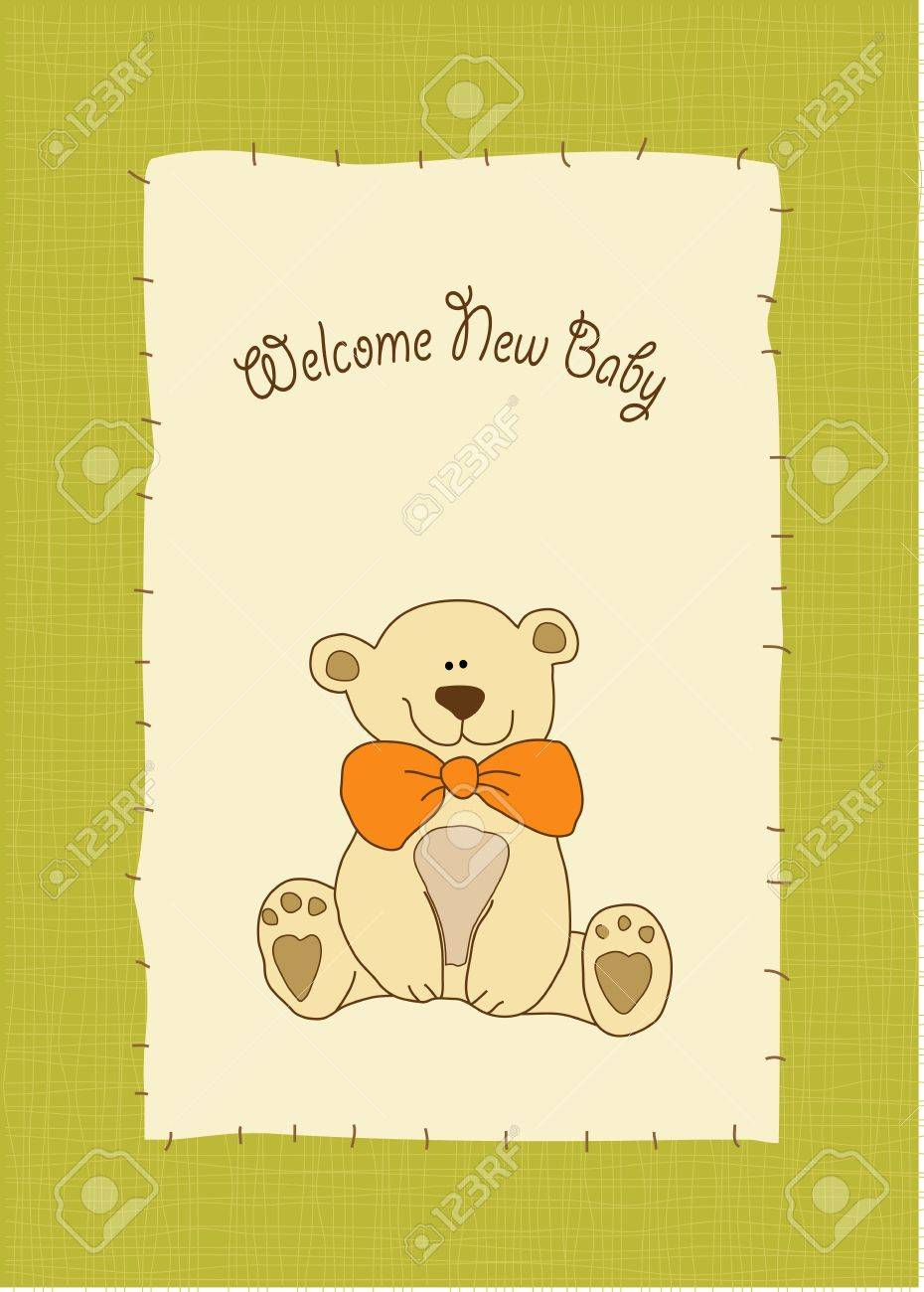 new baby invitation with teddy bear Stock Vector - 9806383