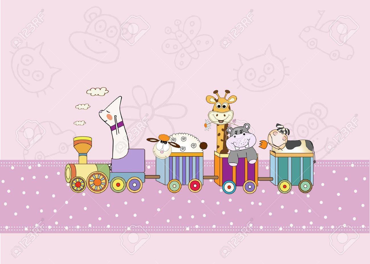 customizable birthday card with animal toys train Stock Vector - 9806443
