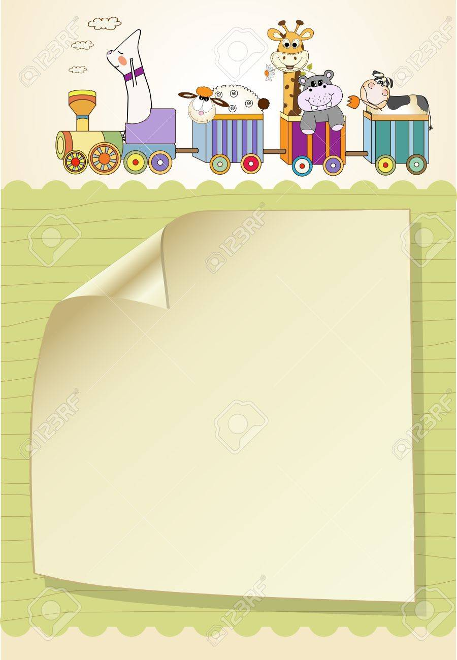 customizable birthday card with animal toys train Stock Vector - 9806438