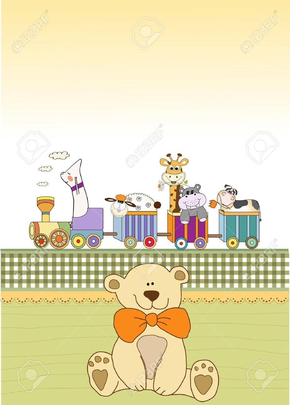 customizable birthday card with animal toys train Stock Vector - 9806464