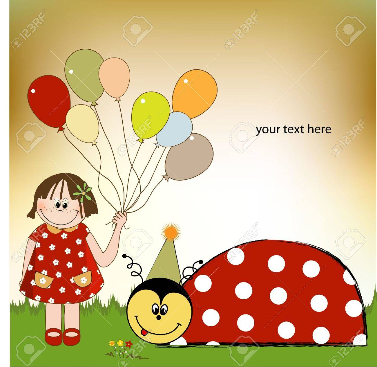 Happy Birthday Card With Ladybug Royalty Free Cliparts Vectors – Ladybug Birthday Cards