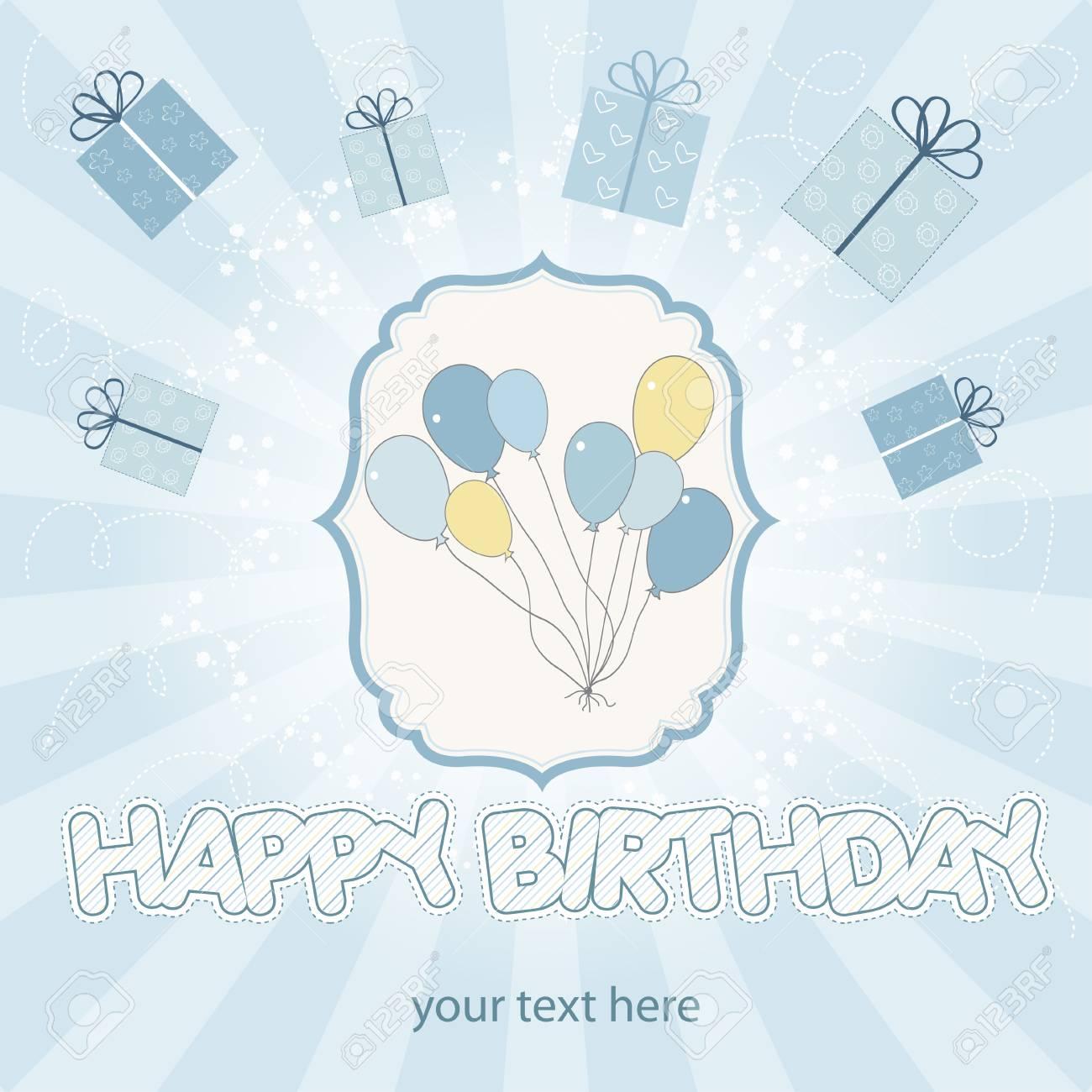 birthday cake with balloon Stock Vector - 9934466
