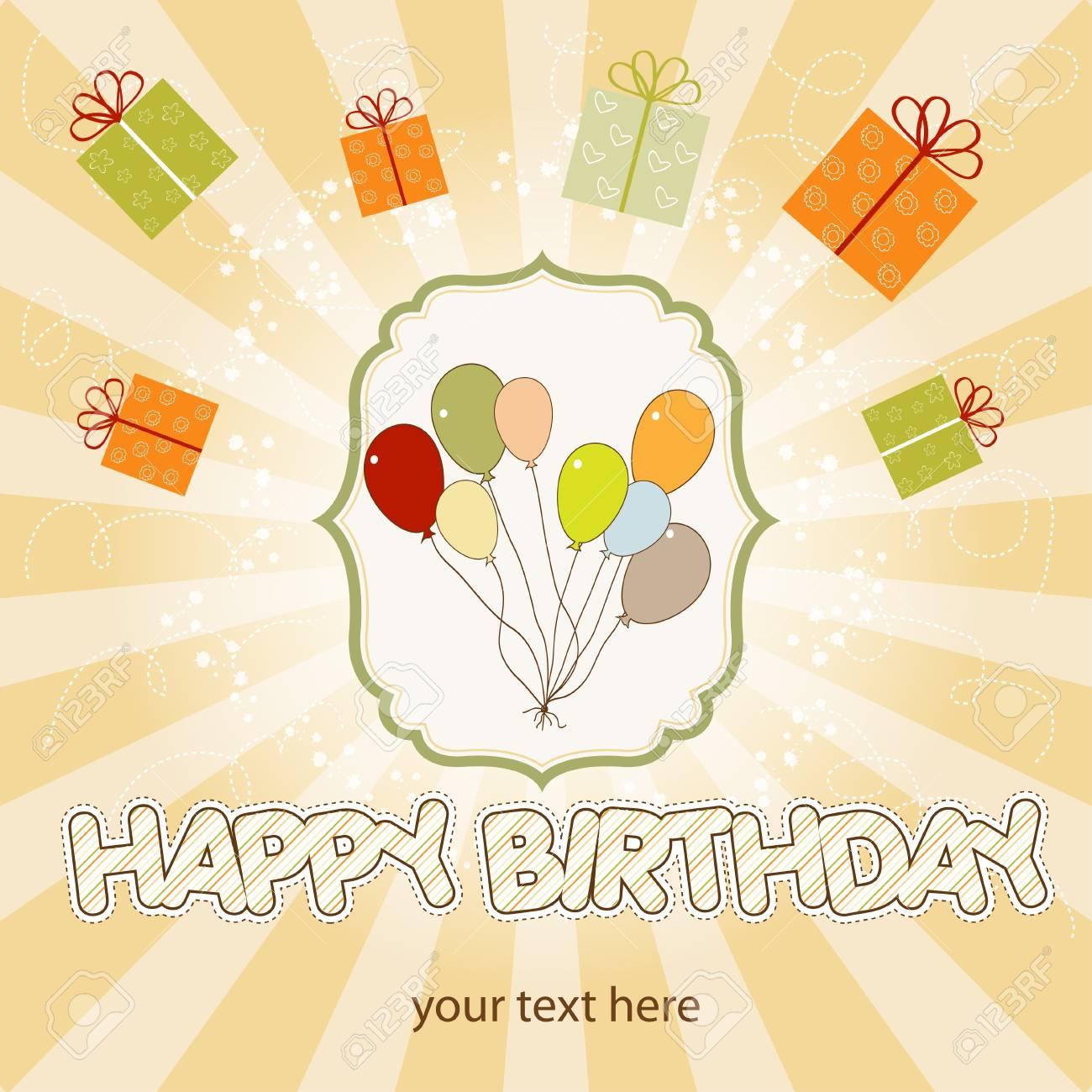 birthday card with balloon Stock Vector - 9934492