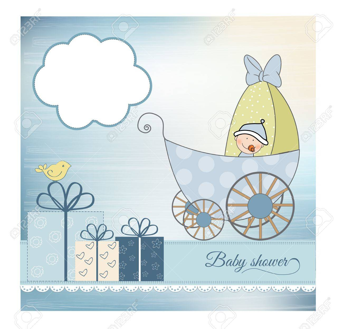 baby shower announcement card with pram - 9934264