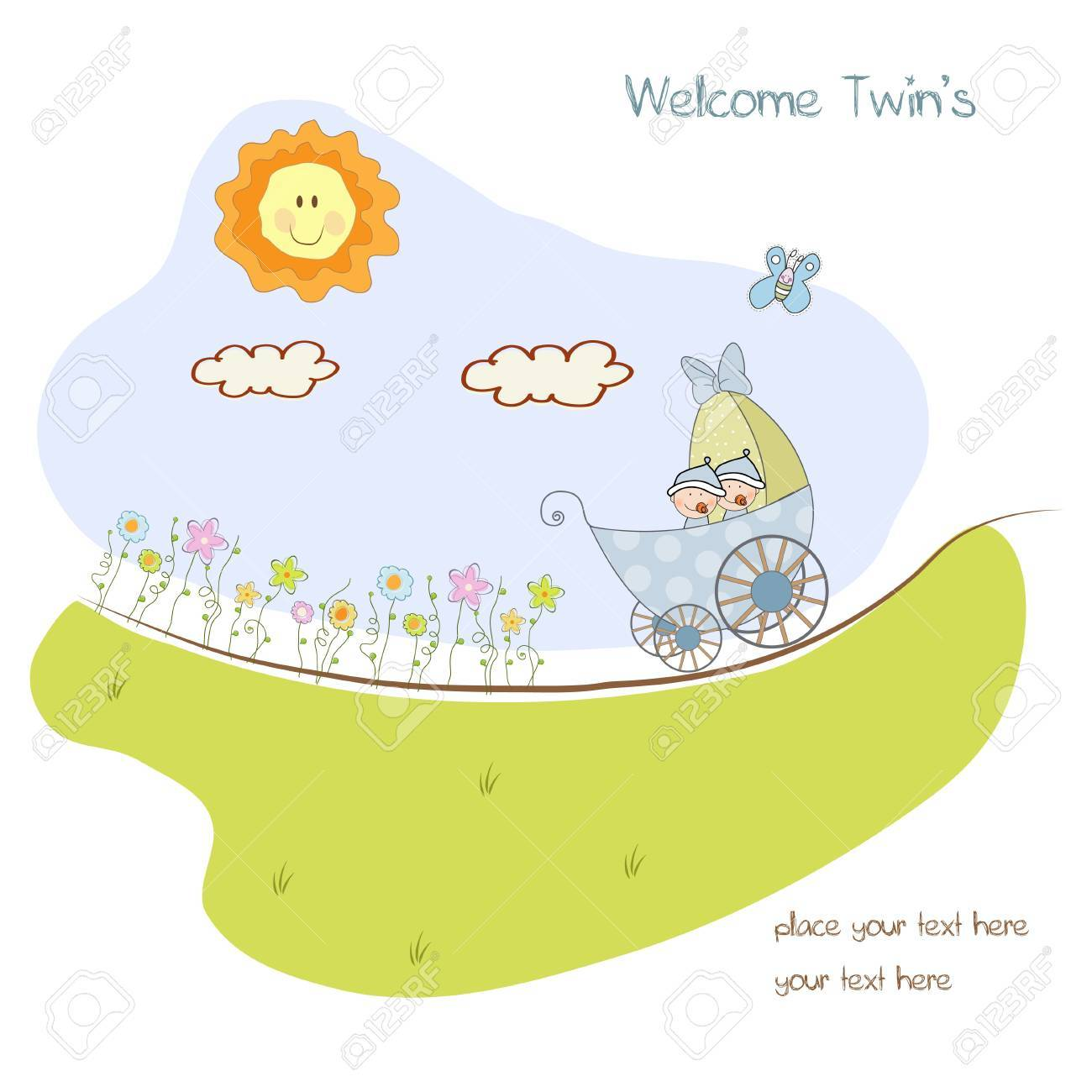 baby shower announcement card with pram Stock Vector - 10586835