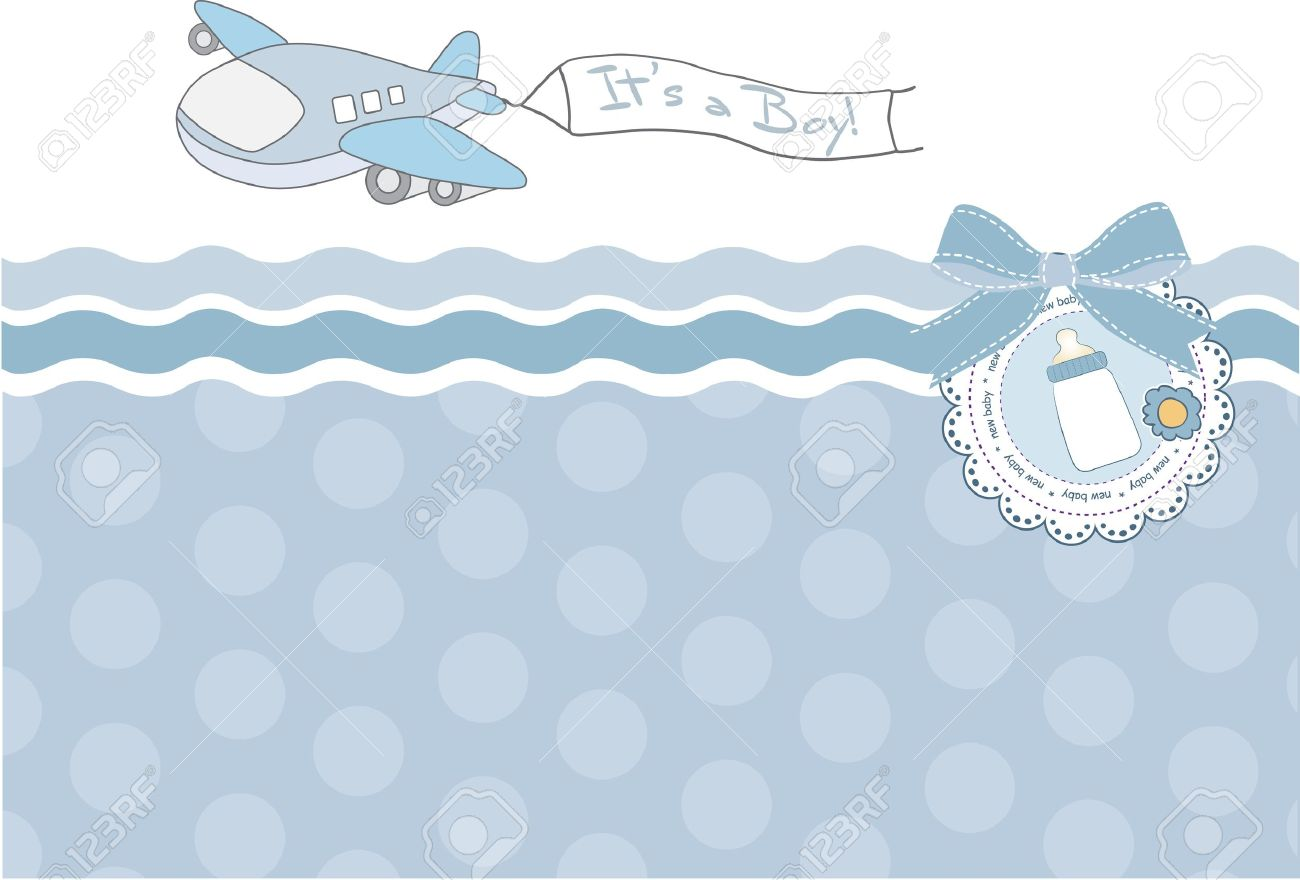 New Baby Announcement Card With Airplane Royalty Free Cliparts – New Baby Boy Announcement