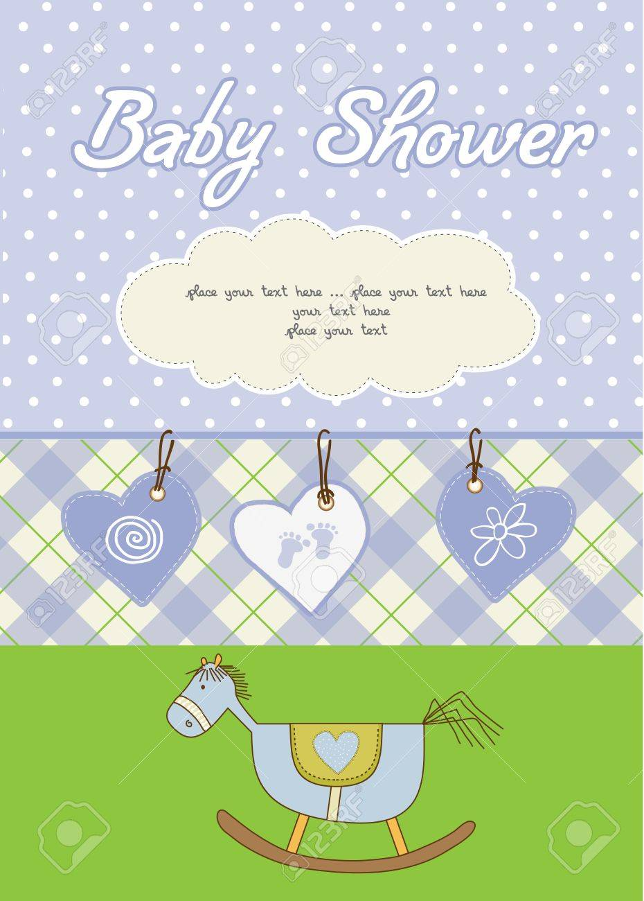 baby boy shower card Stock Vector - 10586882