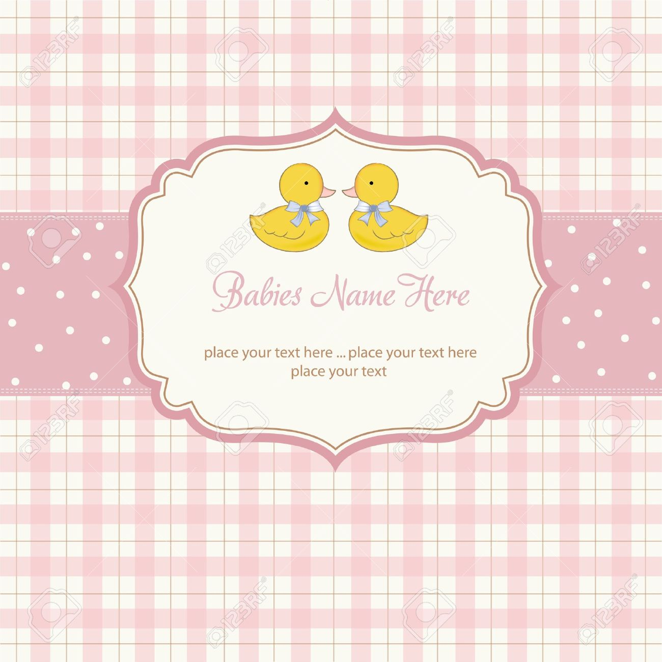 Delicate Babies Twins Shower Card Royalty Free Cliparts, Vectors ...