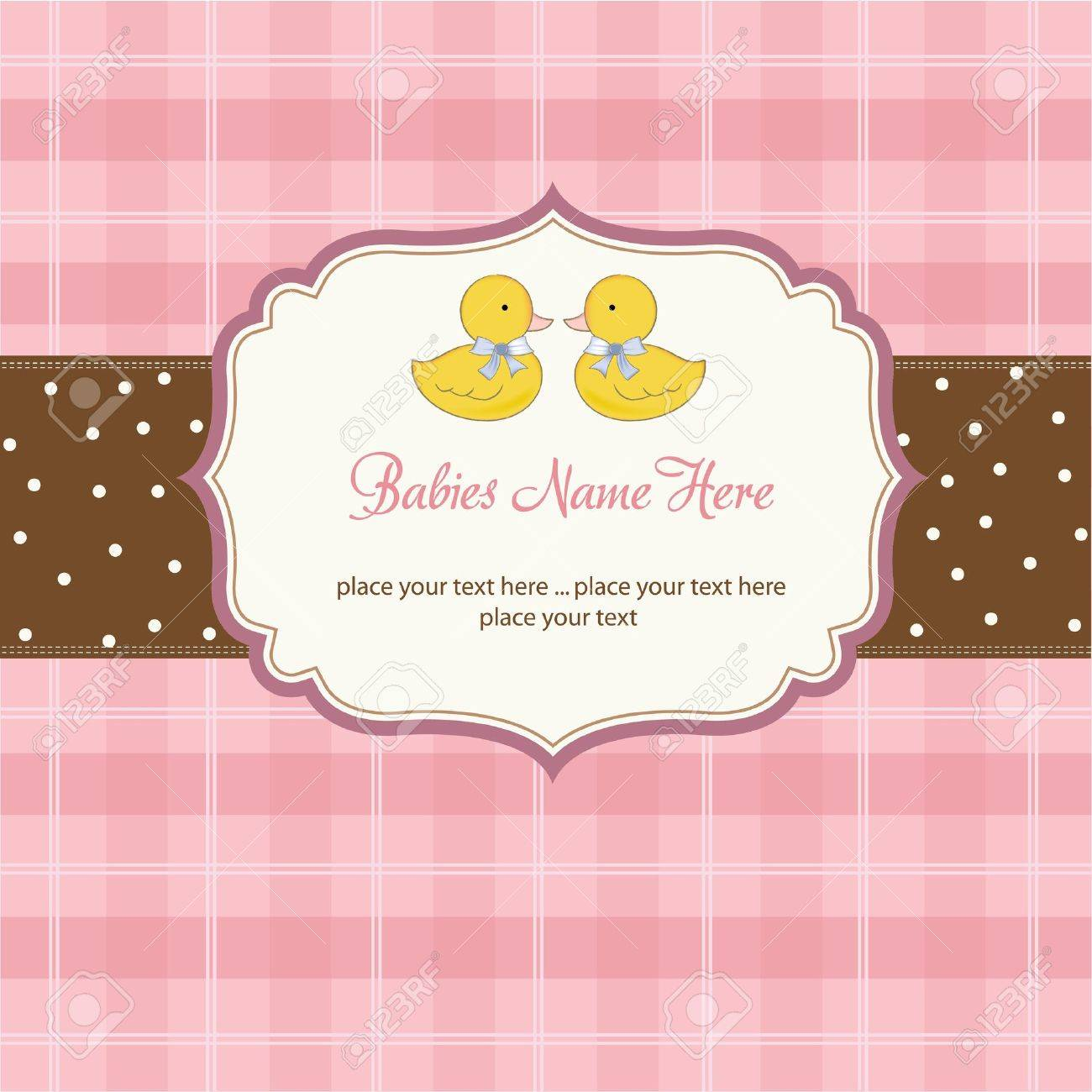 delicate babies twins shower card Stock Vector - 10586879