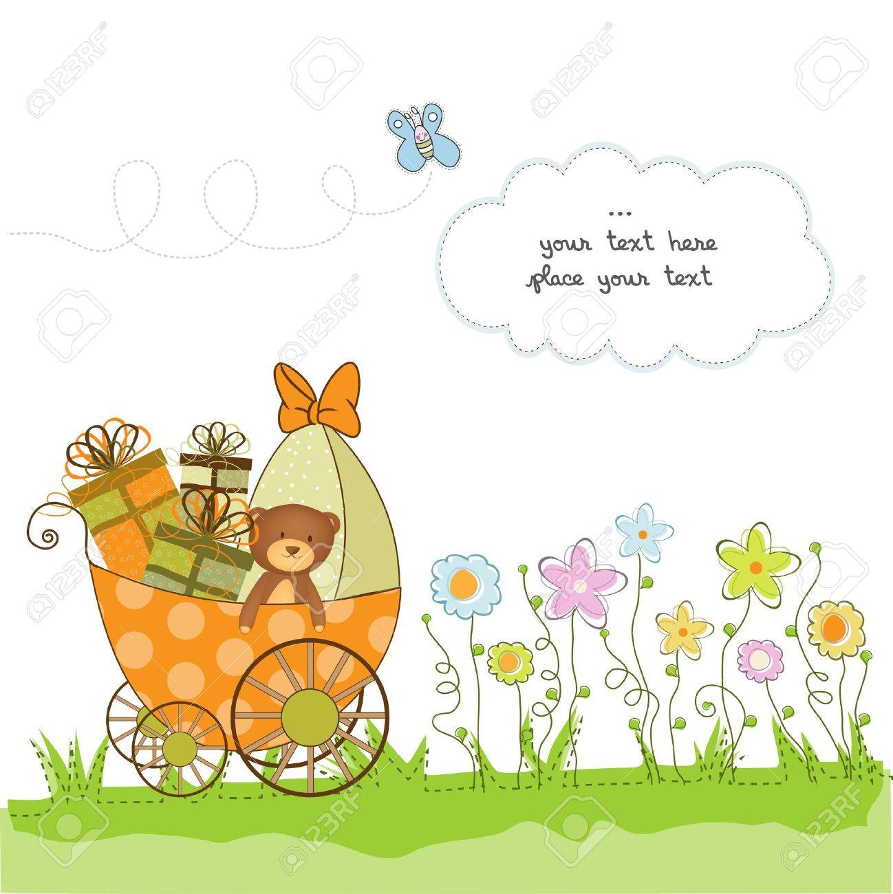 baby shower card with flowers Stock Vector - 10586907