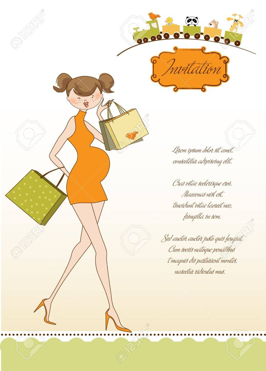 new baby shower invitation with pregnant expectant mother Stock Vector - 10586930