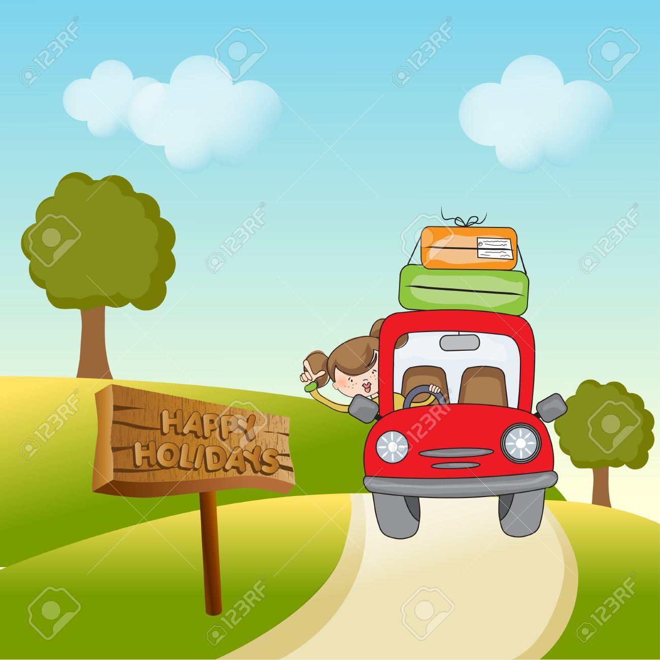 woman traveling by car Stock Vector - 10578011