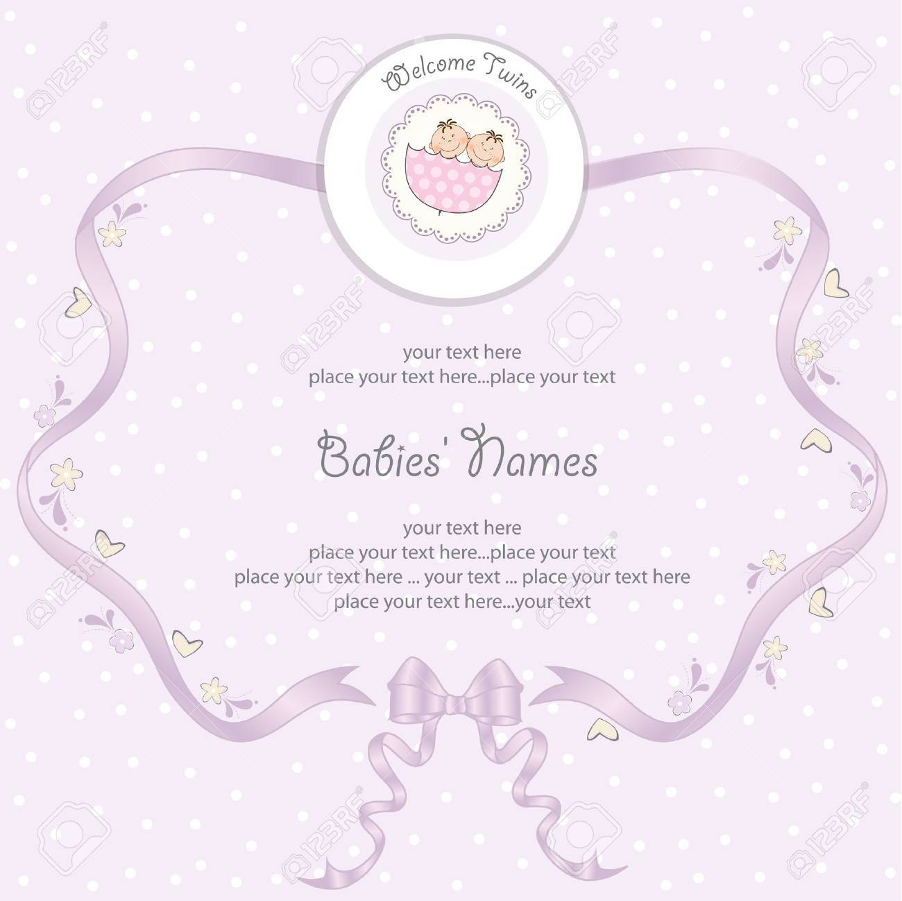 baby twins shower card Stock Vector - 12670329