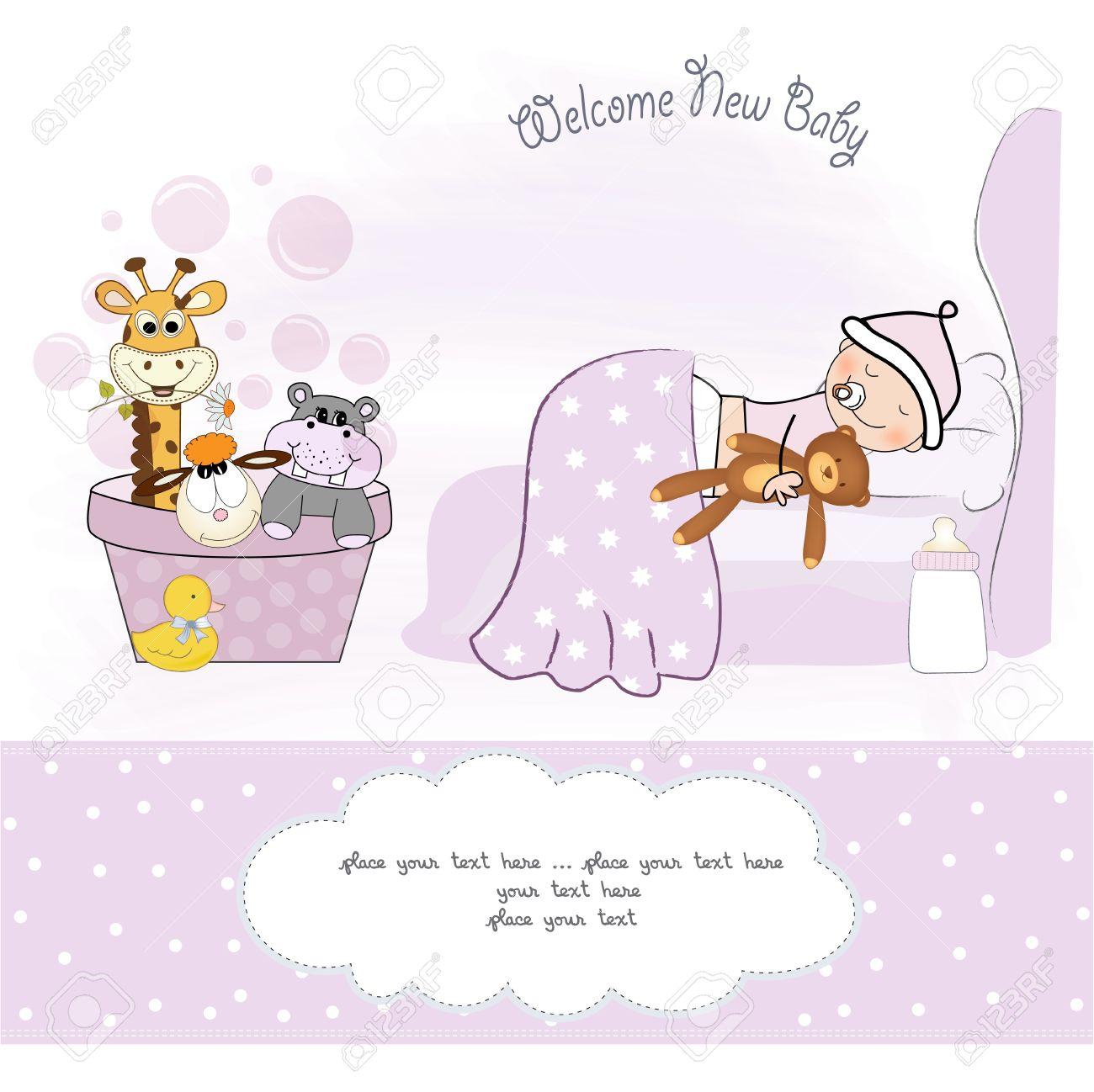 welcome new baby girl Stock Vector - 12599217