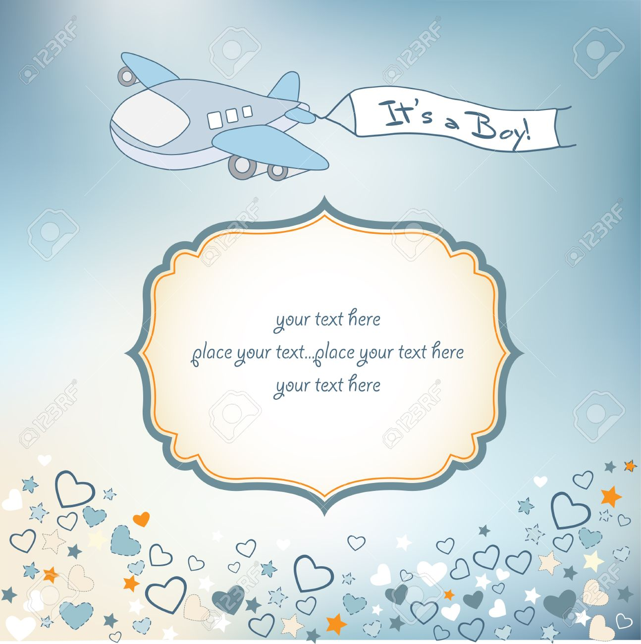 baby boy announcement card with airplane royalty free cliparts