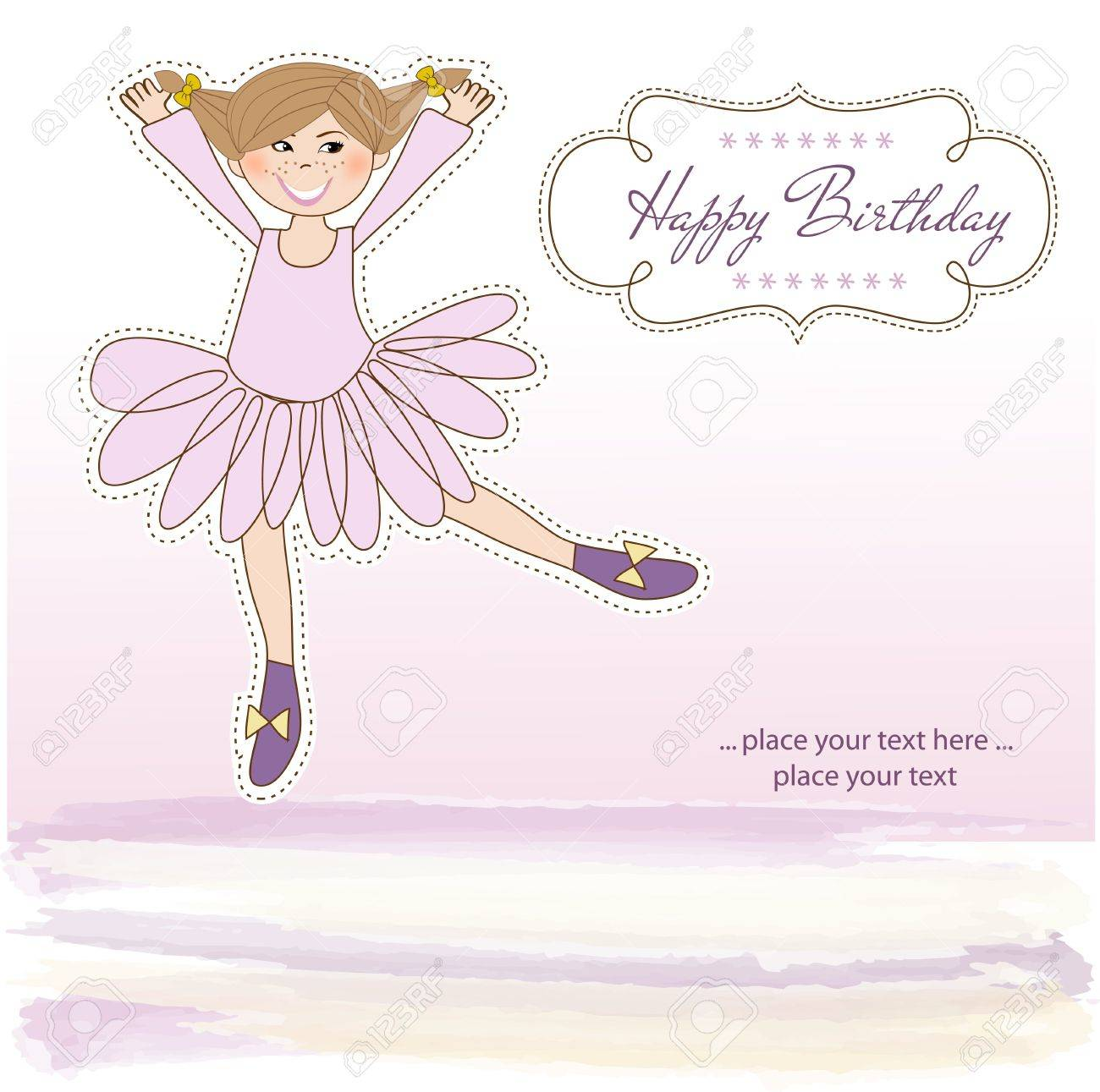 Sweet Girl Birthday Greeting Card Stock Vector - 11022581