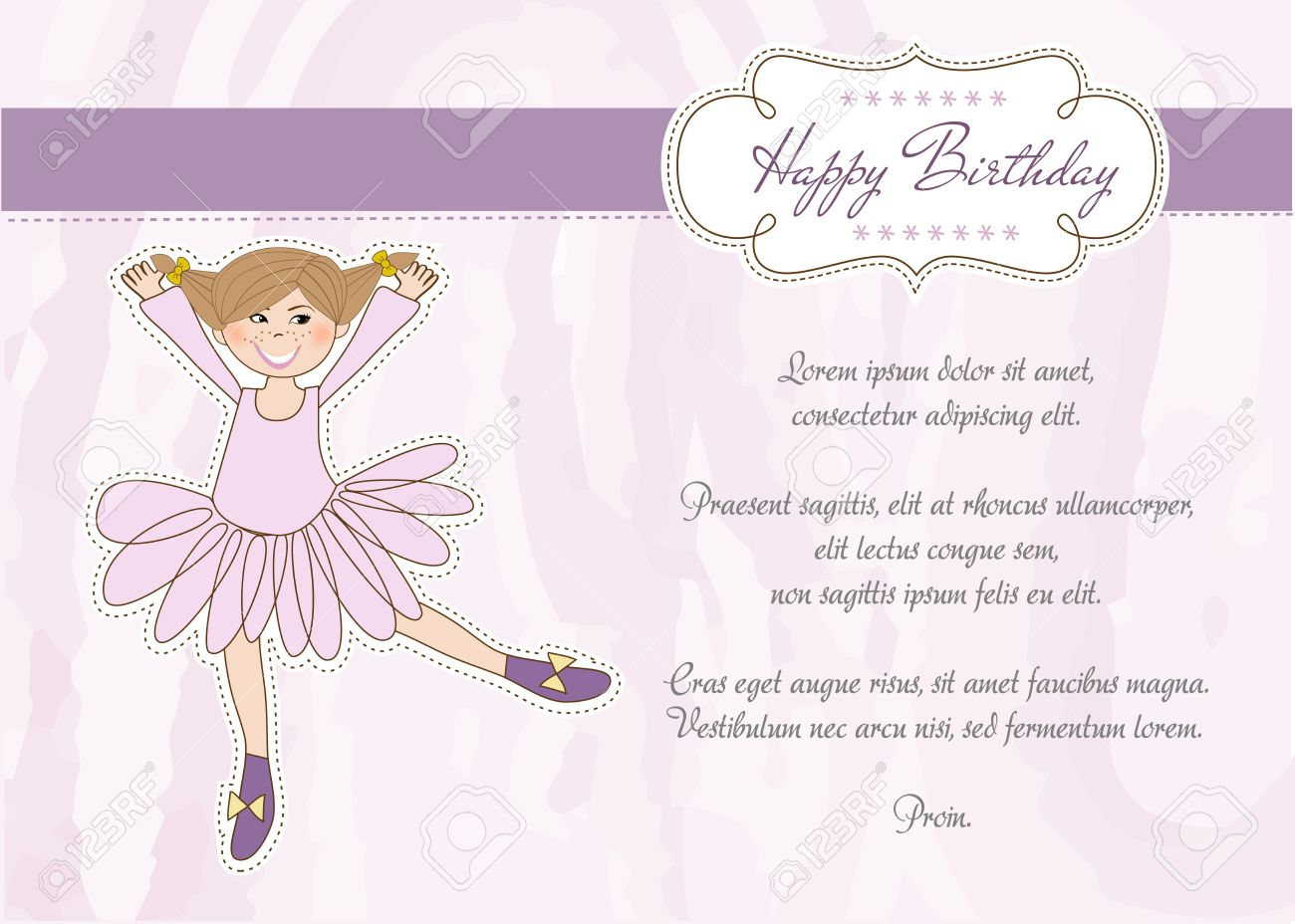 Sweet Girl Birthday Greeting Card Royalty Free Cliparts Vectors