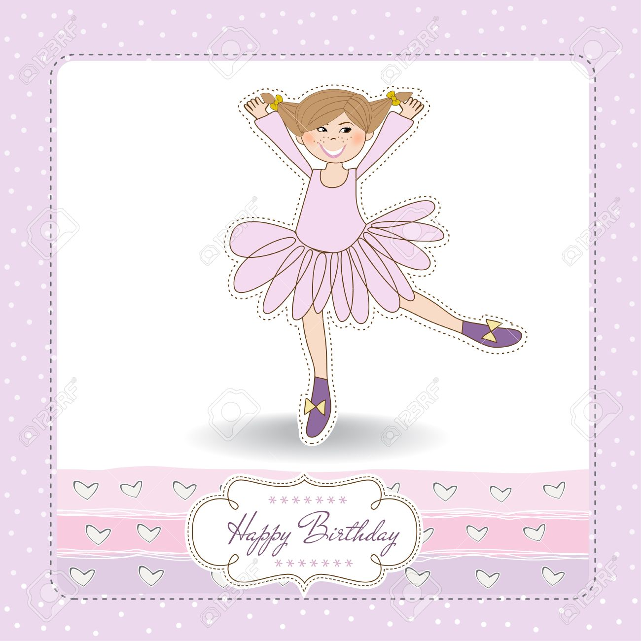 Sweet Girl Birthday Greeting Card Stock Vector - 11021807
