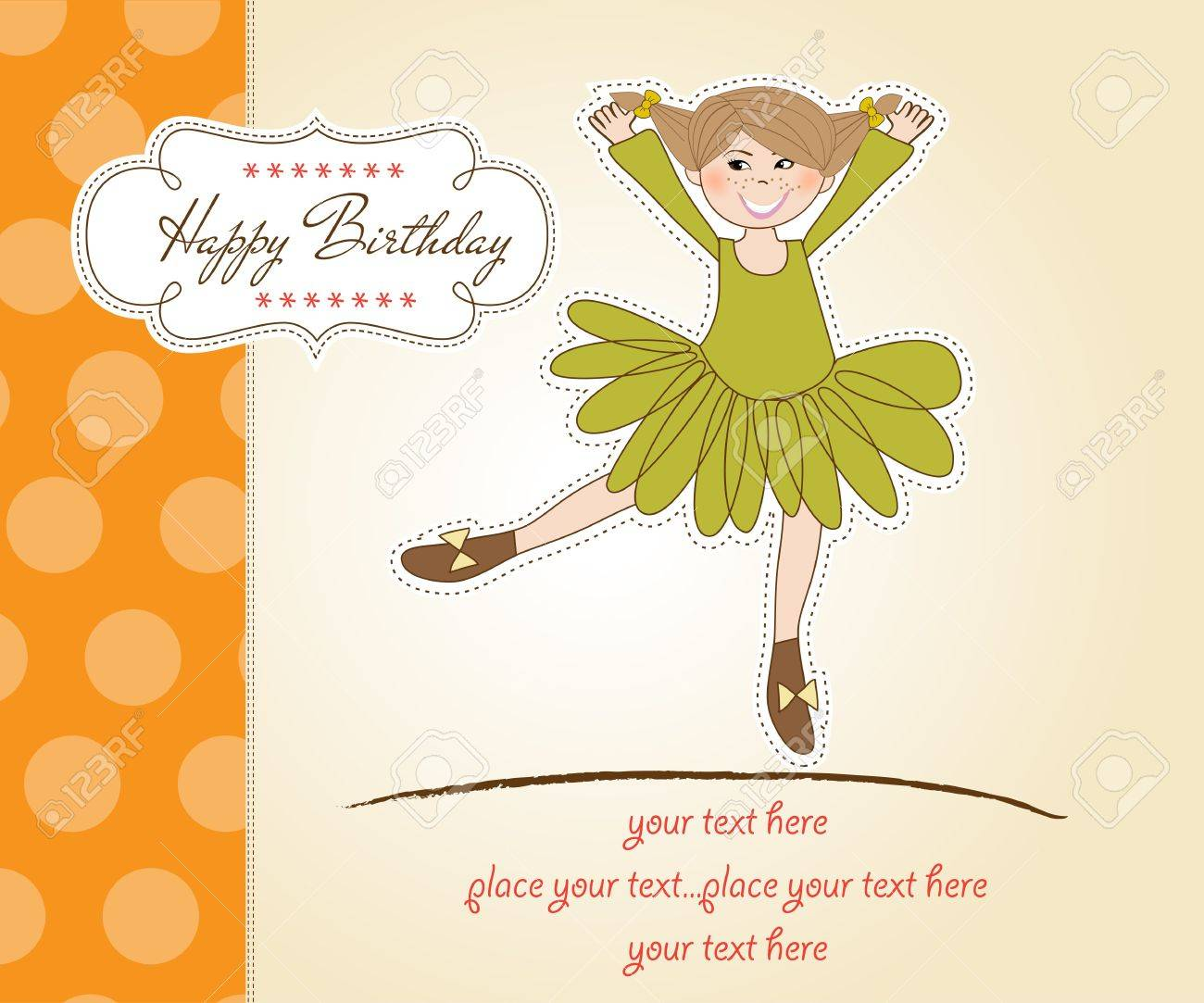 Sweet Girl Birthday Greeting Card Stock Vector - 11021805