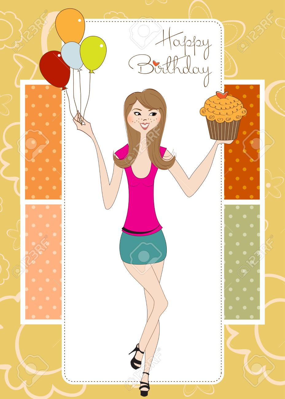 Sweet Sixteen Birthday Card With Young Girl Royalty Free Cliparts – Lady Birthday Card