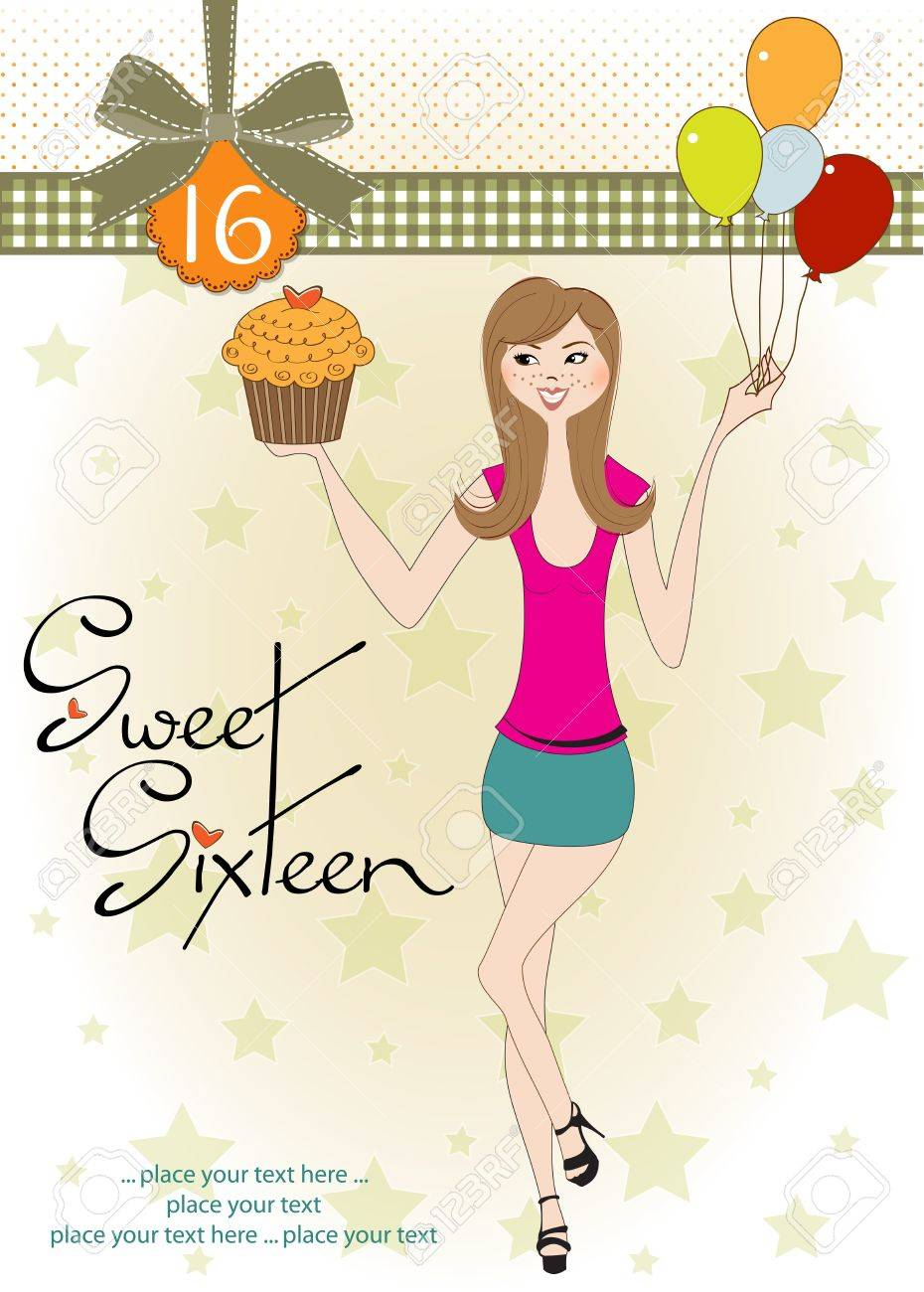 Sweet Sixteen Birthday Card With Young Girl Royalty Free Cliparts – Sweet Sixteen Birthday Greetings