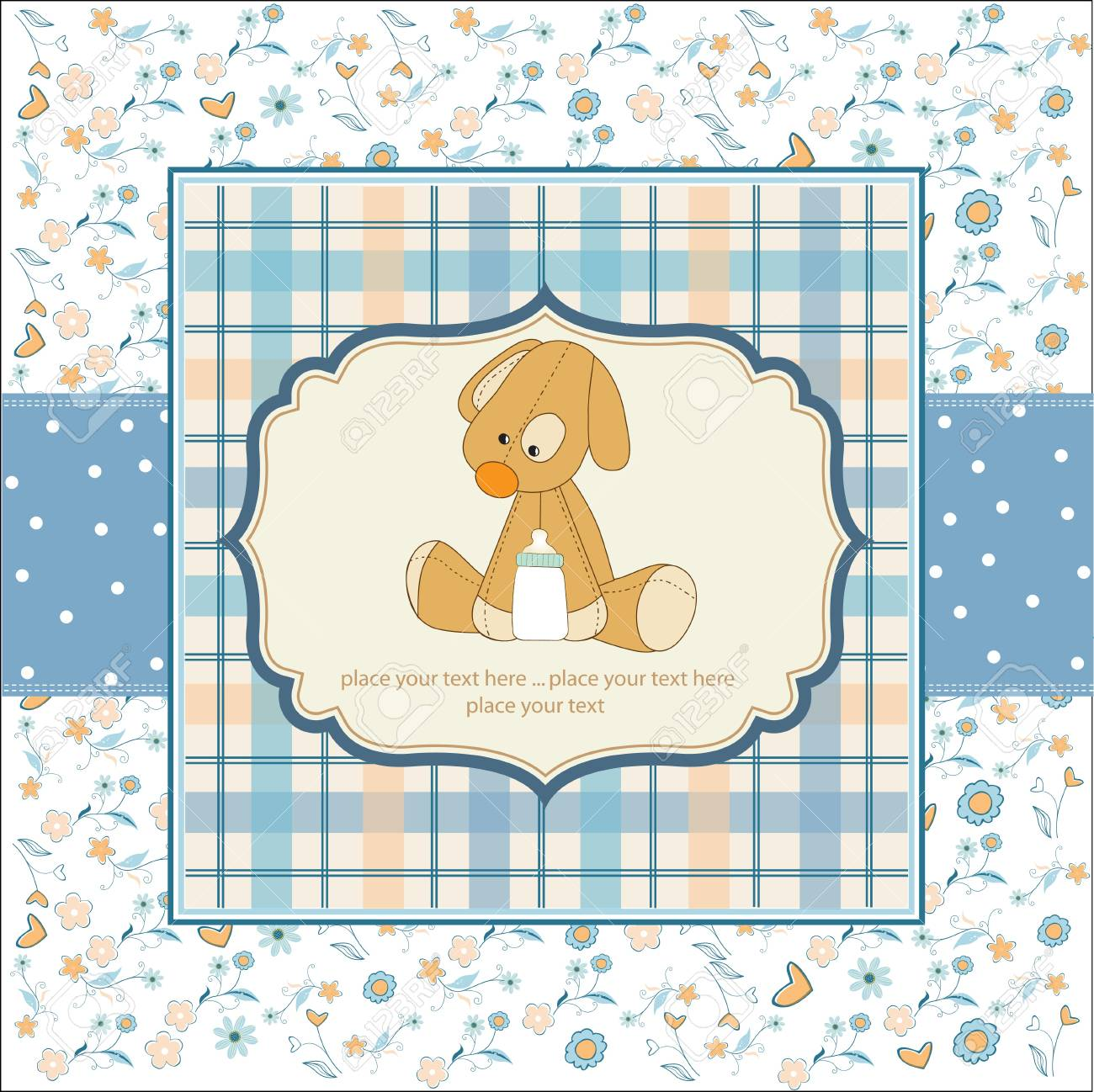 Baby shower card with puppy toy Stock Vector - 11022620