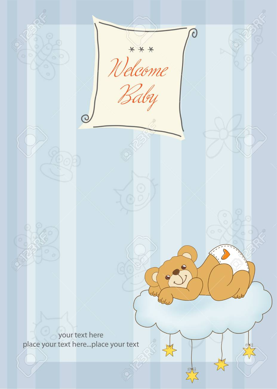 New baby shower card with spoiled teddy bear Stock Vector - 11022142