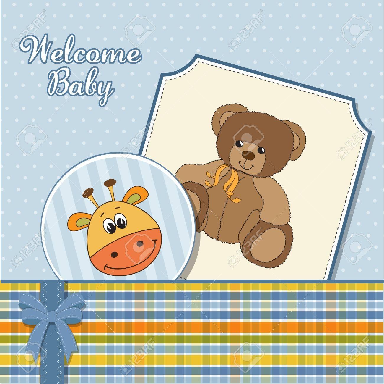 baby boy announcement card Stock Vector - 11358790