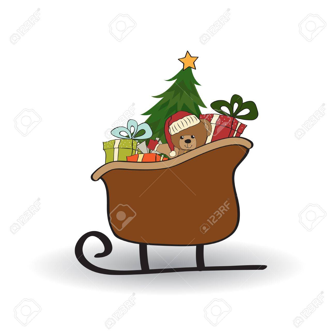 Christmas sleigh with gifts, isolated on white background Stock Vector - 11358691