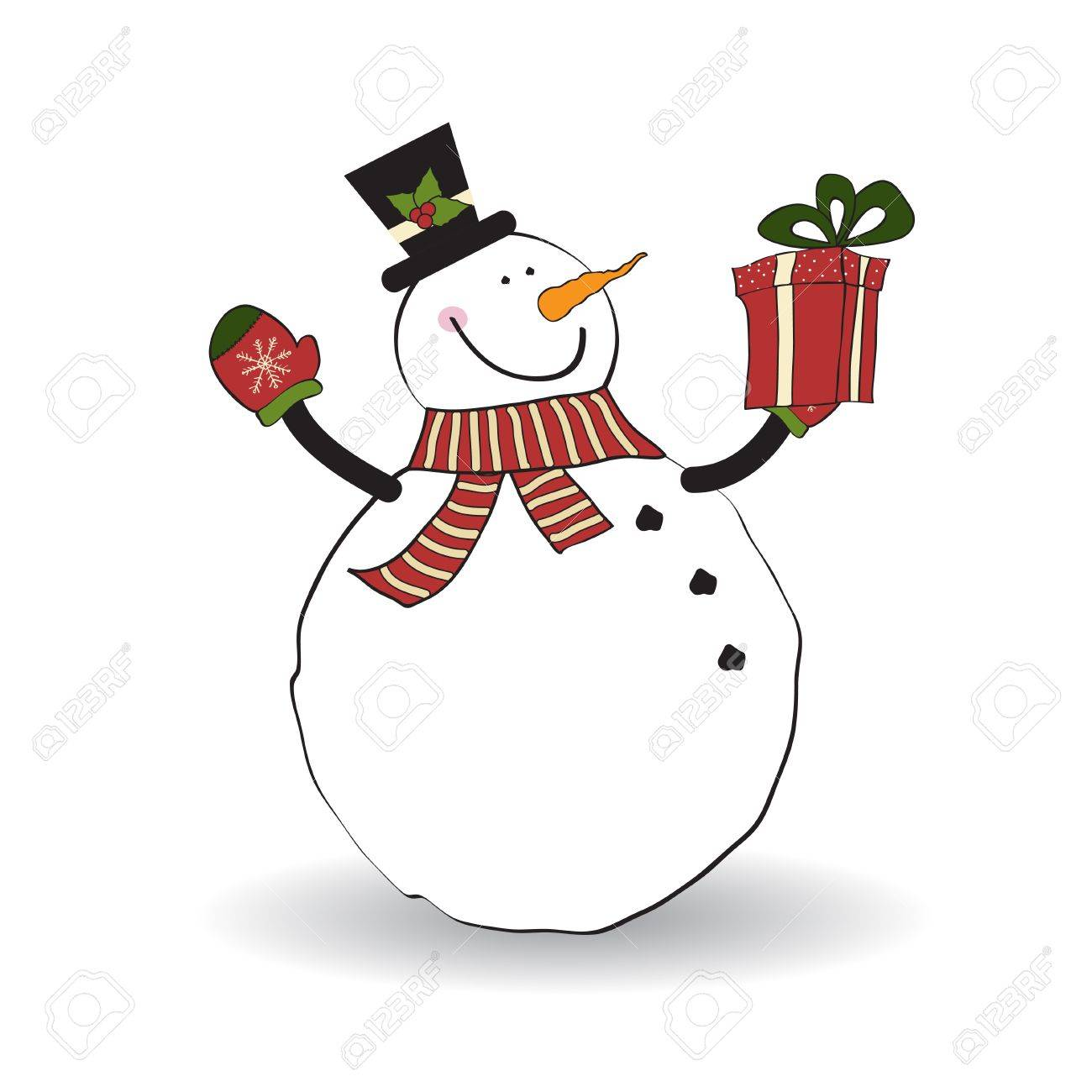 Christmas greeting card with snowman Stock Vector - 11358320