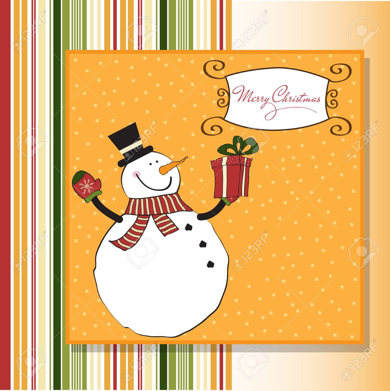 Christmas greeting card with snowman Stock Vector - 11358697