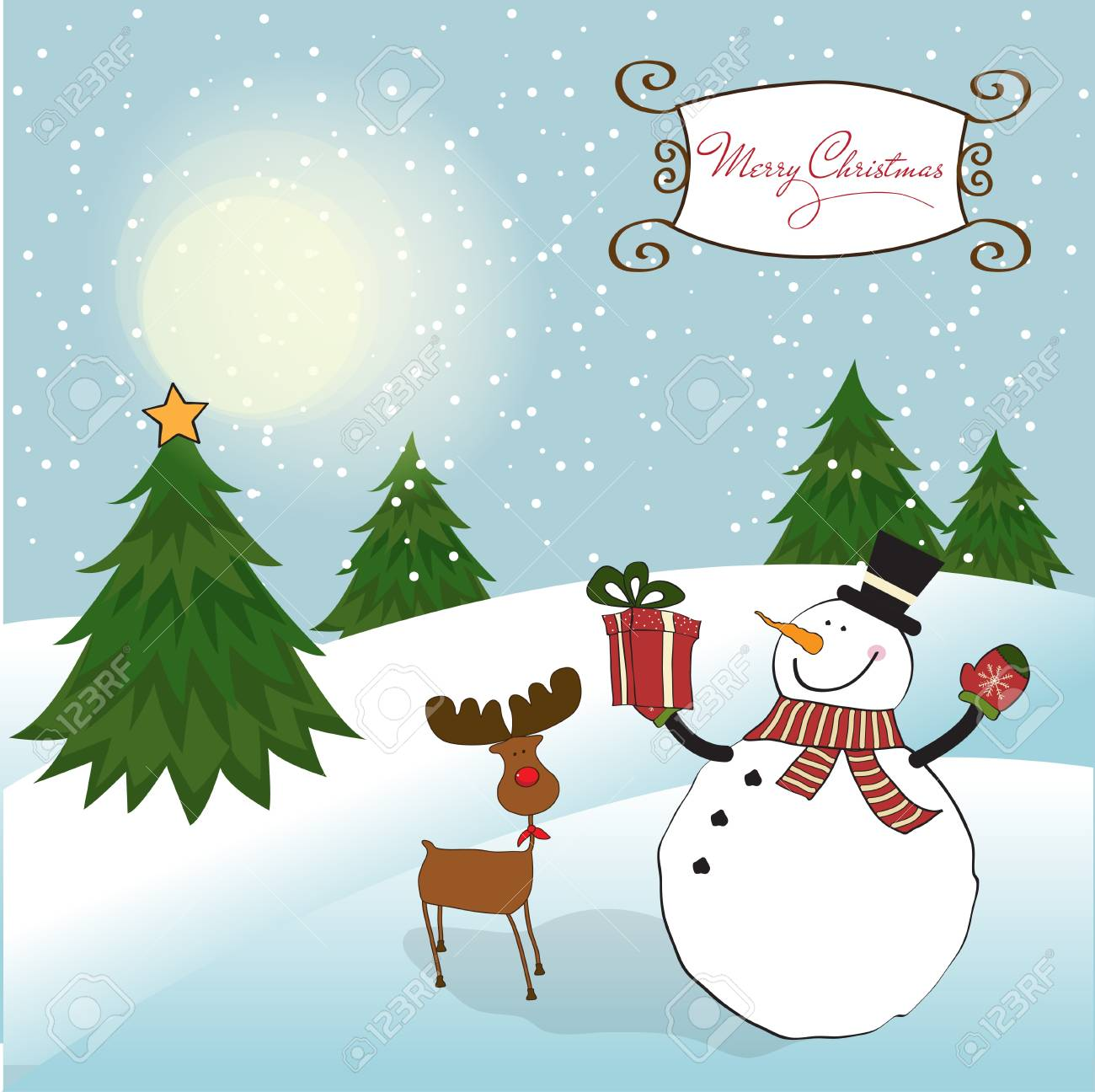 Christmas greeting card with snowman Stock Vector - 11358794